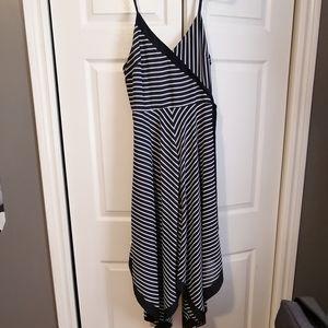 Asymmetrical handkerchief faux wrap dress